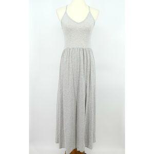 Finn & Clover Lace Back Gray Striped Maxi Dress